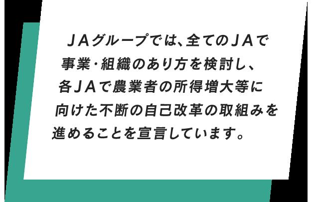 JAグループでは、全てのJAで事業・組織のあり方を検討し、各JAで農業者の所得増大等に向けた不断の自己改革の取組みを進めることを宣言しています。